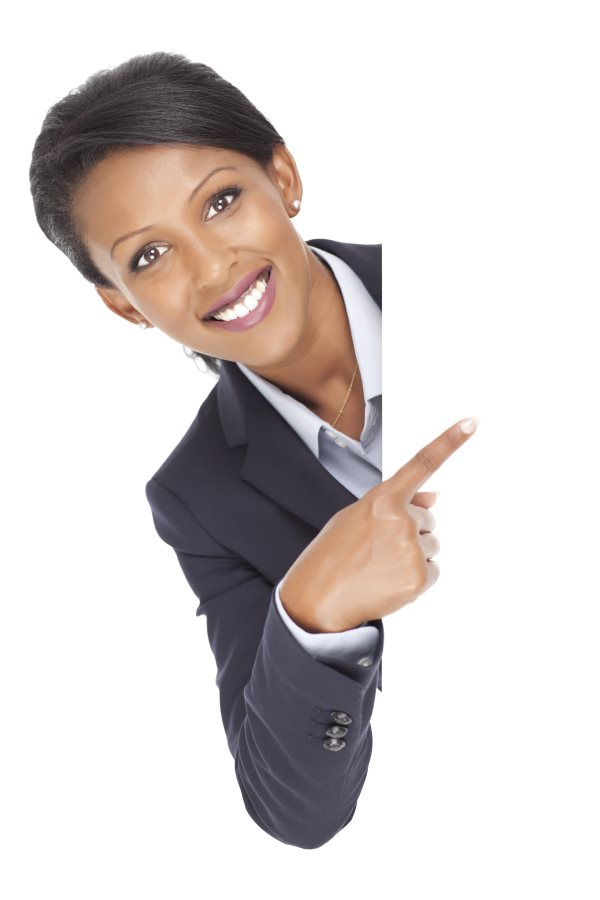 Business woman pointing to contact details